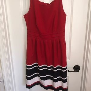 Red A-line dress with white and blue accents